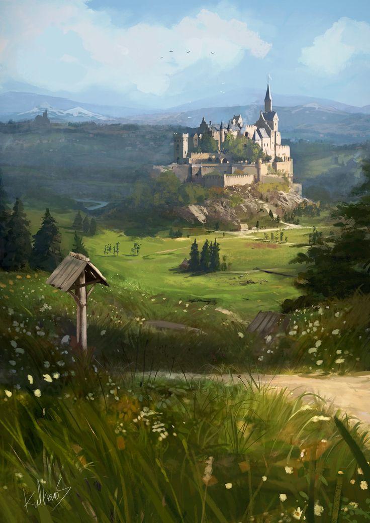 the castle on the hill , Mateusz Michalski on ArtStation at https://www.artstation.com/artwork/NzwA1