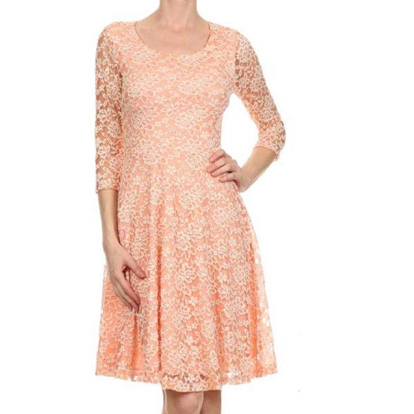 Avital Peach Lace A-line Dress ($60) ❤ liked on Polyvore featuring dresses, orange, floral dresses, 3/4 sleeve dresses, orange dresses, lace dress and red lace dress