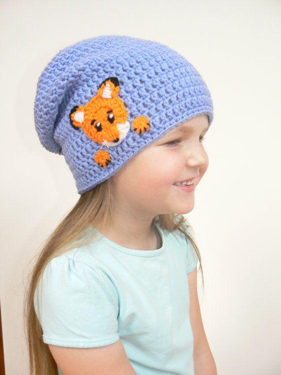 Slouchy Beanie, Fox Hat, Slouchy Hat, Beanie Hat, Toddler Beanie, Crochet Hat, Skater Hat, Hipster Kids Beanie, Unisex Beanie, Womens Beanie