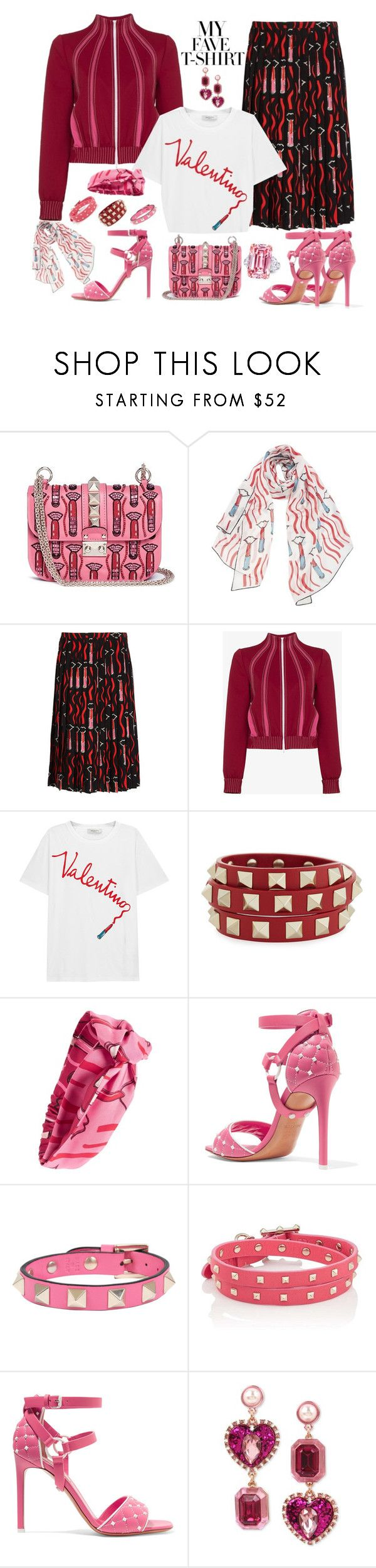 """""""Valentino Dressing up my T-shirt"""" by ellenfischerbeauty ❤ liked on Polyvore featuring Valentino and Betsey Johnson"""