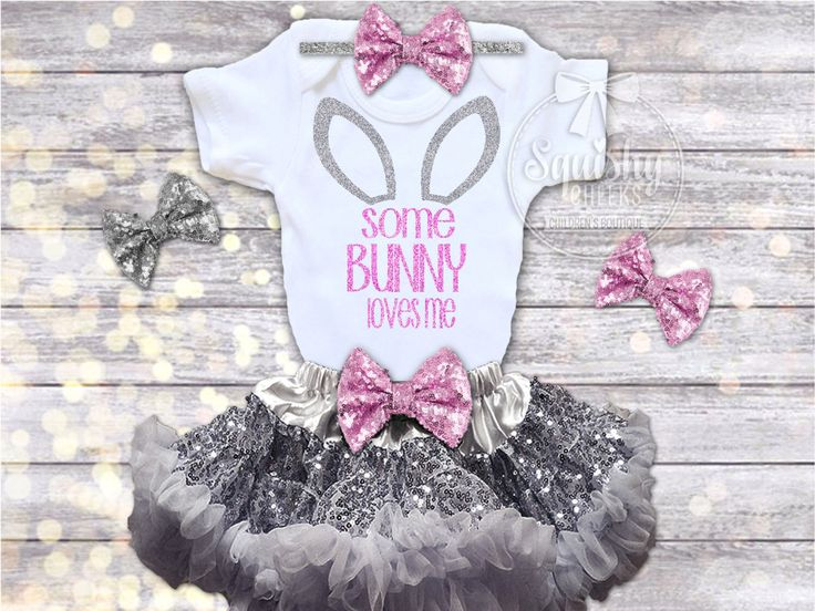 Girls Easter Outfit, Easter Dress, Baby Easter Outfit, Some Bunny Loves Me, Newborn-6T, Easter Shirt, Outfit Options: Top, Headband, Skirt by BabySquishyCheeks on Etsy https://www.etsy.com/listing/264528769/girls-easter-outfit-easter-dress-baby
