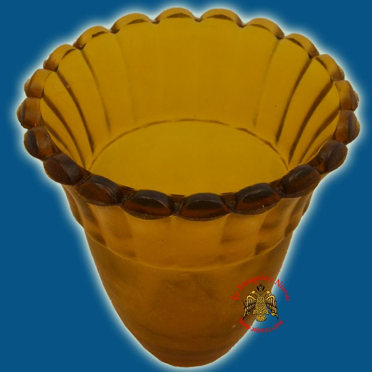 Glass Orthodox Votive Cup Amber
