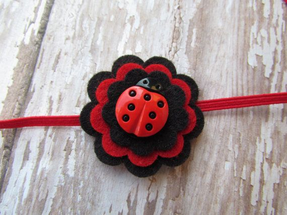 Red and Black Wool Felt Flower Headband by SnuggleBugsBowtique