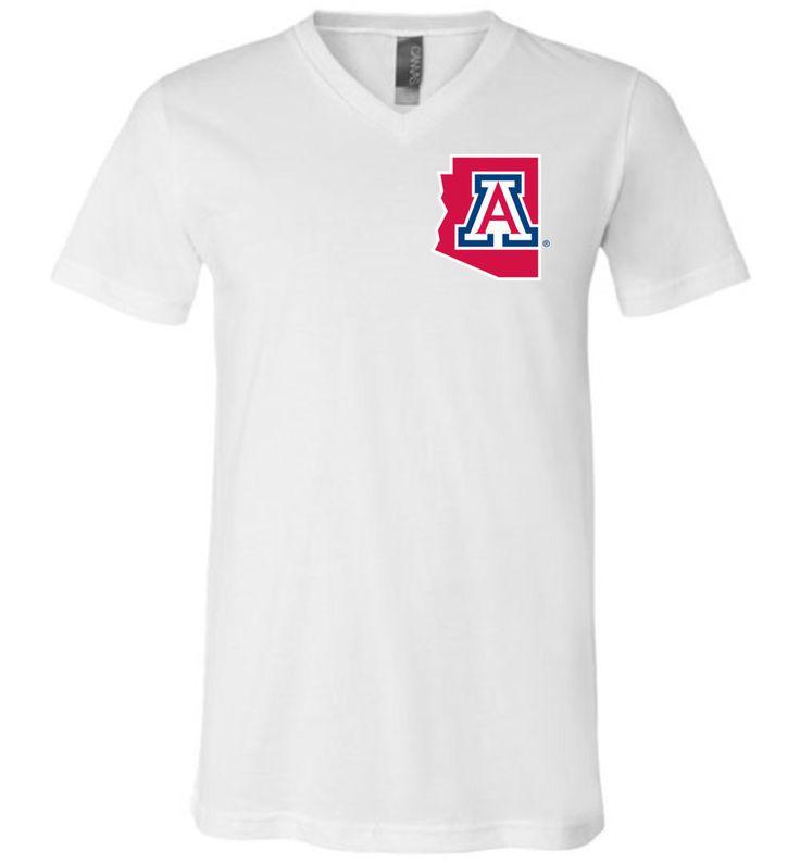 NCAA University of Arizona Wildcats U of A - Canvas Unisex V-Neck T-Shirt - 15UA-AZ-ab