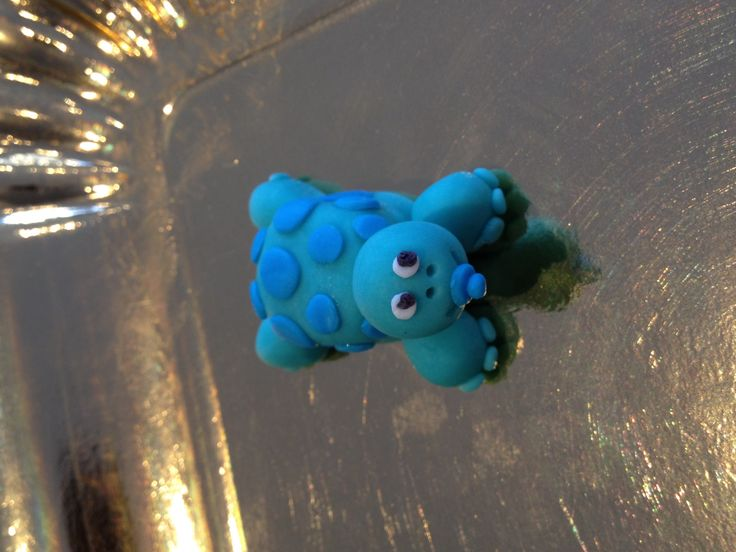 Baby Turtle with a pacifier - colored vanilla fondant cupcake toppers