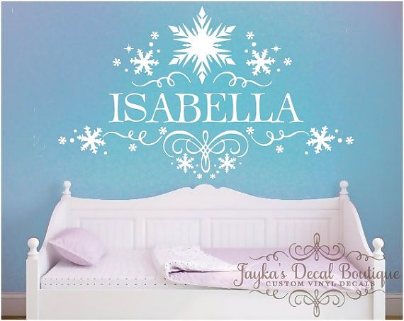 Frozen Snowflakes Personalized Girl Name   Wall Decal