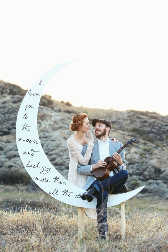 Crescent Paper Moon Photo Booth with Poetry and Bench by DAPPSY