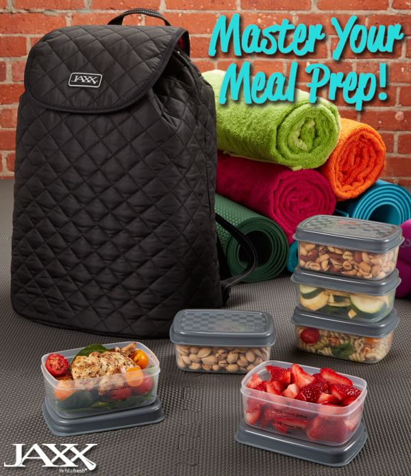 Master your meal prep with Jaxx Fitness quilted backpack. Comes with portion control containers, ice packs & more!