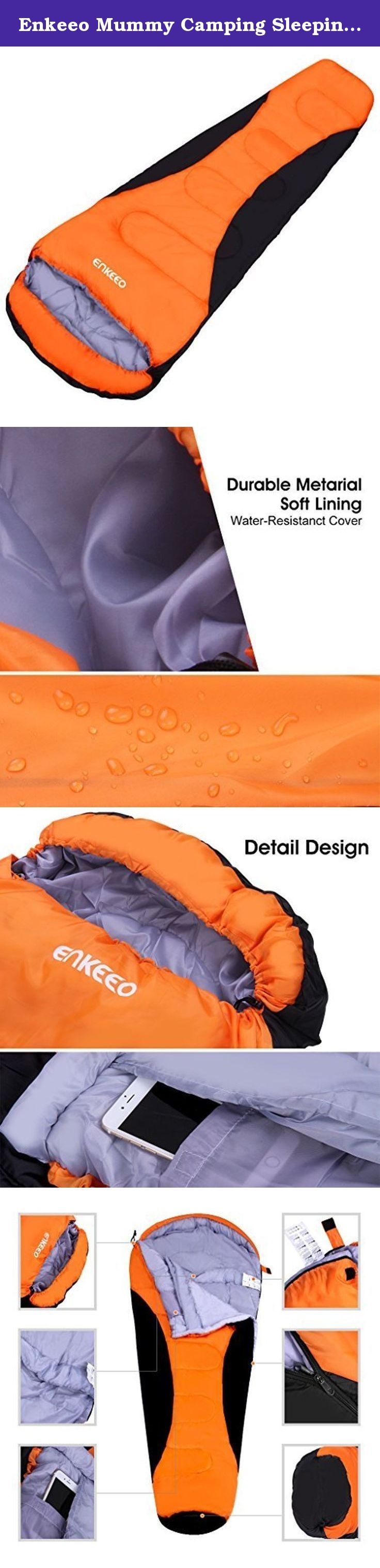 Enkeeo Mummy Camping Sleeping Bag 91x34 Inch 20-30 Degree Ultralight Sleeping Bag with Waterproof Taffeta Shell/ Breathable Hollow Cotton, Compression Sack for 4 Season Hiking (Black & Orange). Your Home Bed while Sleeping Outdoor The outer shell of our sleeping bag is made of waterproof taffeta for durability and the inner lining is made of long lasting pongee with soft and breathable hollow cotton to let your body moisture evaporate and minimize the amount of heat your body loses while...