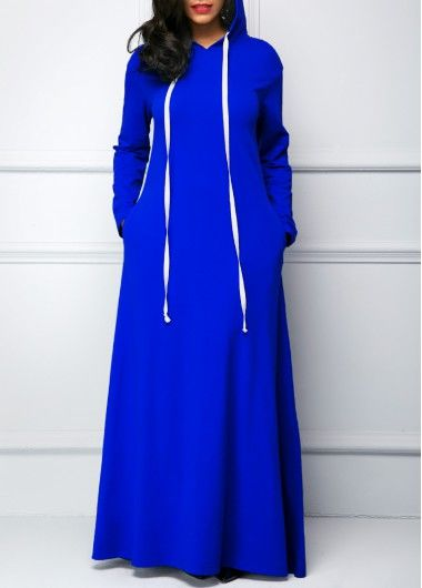 Royal Blue Long Sleeve Hooded Collar Maxi Dress on sale only US$32.74 now, buy cheap Royal Blue Long Sleeve Hooded Collar Maxi Dress at Rosewe.com