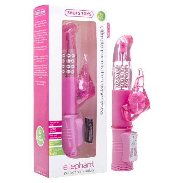 Shots Toys Elephant Pink Vibrator for Sale  The Elephant is the perfect vibrator to reach each sensitive spot. The top can spin with 4 different rhythms.  Furthermore, you can switch on the elephant, which will make the trunk vibrate, in 8 different possible modes. You can even specify the direc