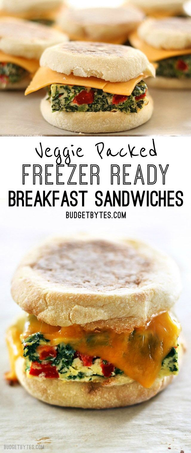 Veggie Packed Freezer Ready Breakfast Sandwiches are a filling, delicious, and microwavable make ahead breakfast for busy mornings.
