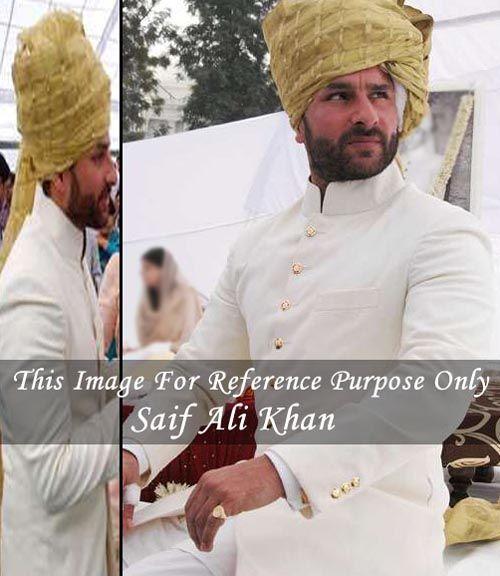 Royal jodhpuri look saif ali khan wedding sherwani made in cream color merino wool fabric. Bottom as matching churidar.