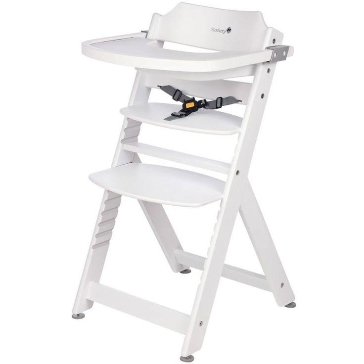 Adjustable Baby High Chair Infant Seat Child Wooden Toddler Safety Harness White #AdjustableBabyHighChair