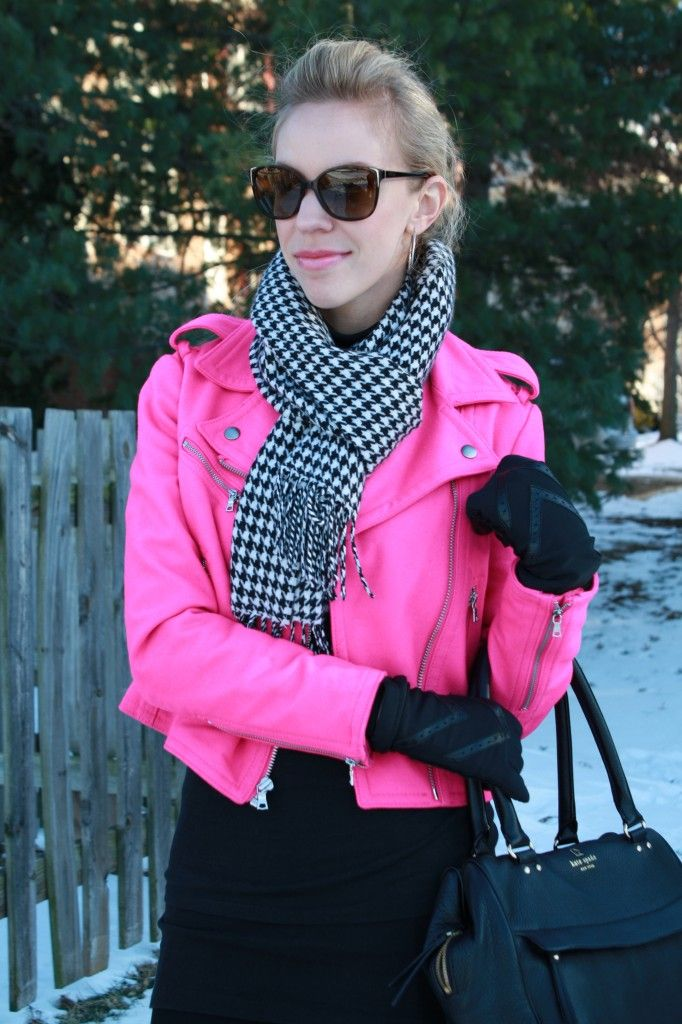 Poppin' Pink: GAP fuschia wool moto jacket, black and white houndstooth scarf, gloves, black leather Kate Spade bag