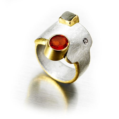 Contemporary jewellery in silver and gold with gemstones