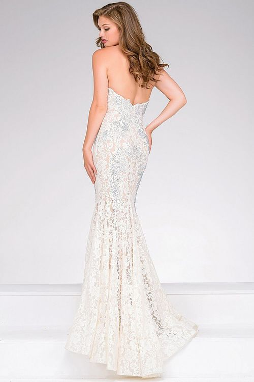 Jovani - Crystal Embellished Strapless Lace Prom Dress 37334   Lace ...