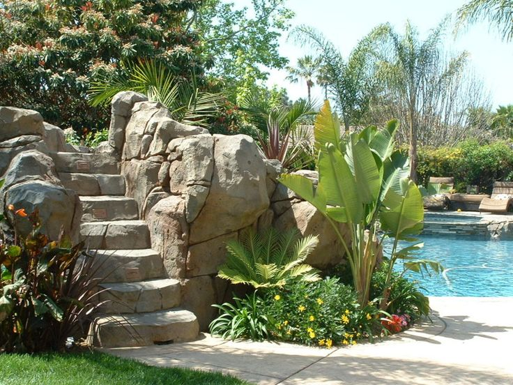 Artificial Rock Water Slide Grotto And Waterfalls