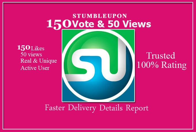 **Recommended** Stumbleupon is the most favorite bookmarking system with an very high rank (PR9). It is proven for many webmasters that traffic from SU are just 2nd compared to Google. I will provide 150 likes with 50+ Views from active & unique stumblers , Also do 10 retweets or 05 facebook share to your URL. After completion, I will provide you a very *nice* report. What Will You Get Actually: 150 likes from unique and worldwide user Safe and Manually Submission (Not b... on ...