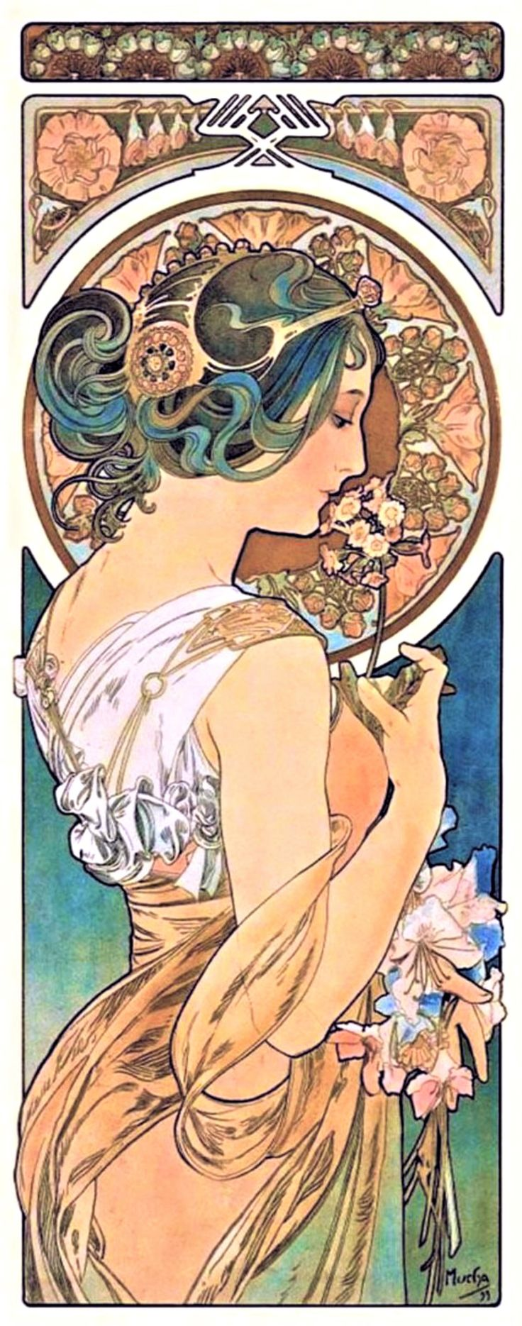 """Primrose"" ~ Alphonse Mucha ~ Click through the large version for a full-screen view (on a black background in Firefox), set your computer for full-screen. ~ Miks' Pics ""Alphonse Mucha"" board @ http://www.pinterest.com/msmgish/alphonse-mucha/"