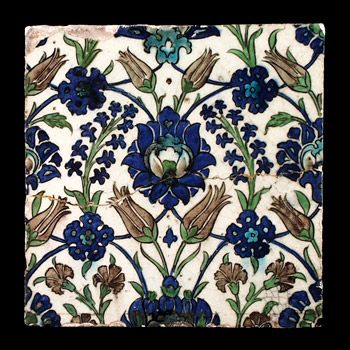 Syria {Damascus}   A square stone paste tile painted in underglaze cobalt blue, turquoise, manganese purple and green. Sprays of tulips, car...