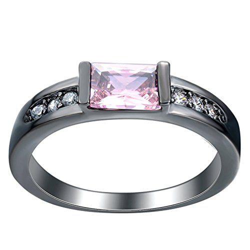 Bigood 18K Stainless Steel Fashion Partnerringe Verlobungsringe Freundschaftsringe Zirkonia Pink 9