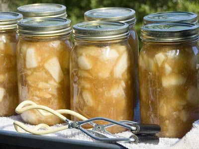 CANNING RECIPE: Apple Pie Filling.   	About 35 medium apples 9½ 	cups water 4½ 	cups sugar 1 	cup Clear Jel* or cornstarch 1 	teaspoon salt 1 	tablespoon ground cinnamon ¼ 	teaspoon ground nutmeg 3 	tablespoons lemon juice (optional)