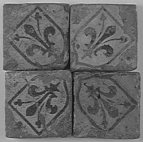 Carreaux de pavement : fleurs de lys en blason PÉRIODE 13e siècle SITE DE PRODUCTION France (origine)