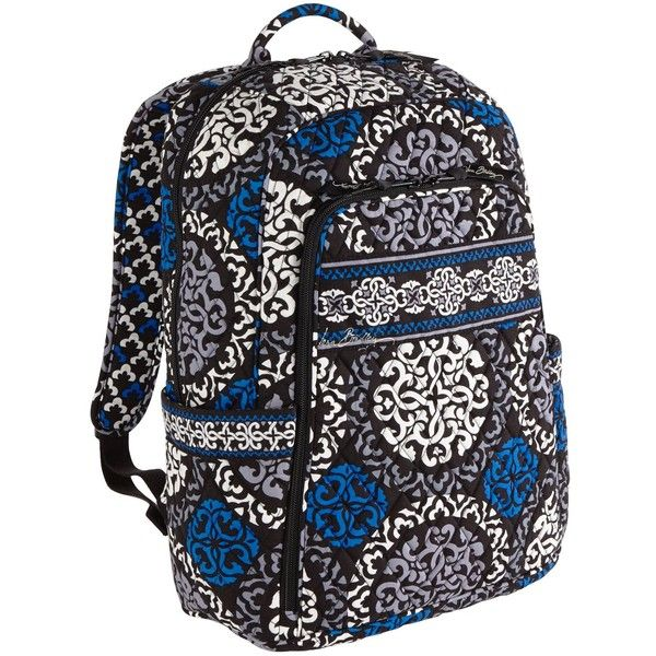 Vera Bradley Laptop Backpack in Canterberry Cobalt ($75) ❤ liked on Polyvore featuring bags, backpacks, canterberry cobalt, colors, midnight blues, vertical-zip laptop backpack, roll up backpack, laptop backpack, trolley backpack and vera bradley backpack