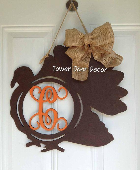 Wooden Fall Turkey Monogram Door Hanger by TowerDoorDecor on Etsy