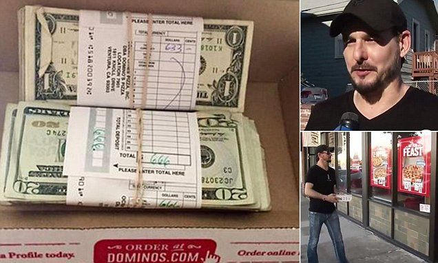 Domino's customer returns $1,300 he found inside box of chicken wings