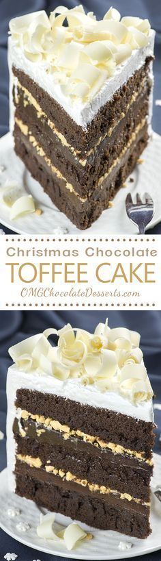 Needless to say, this Christmas Chocolate Toffee Cake is a chocolate lover's dream and fancy enough to take a central place on your Christmas table!