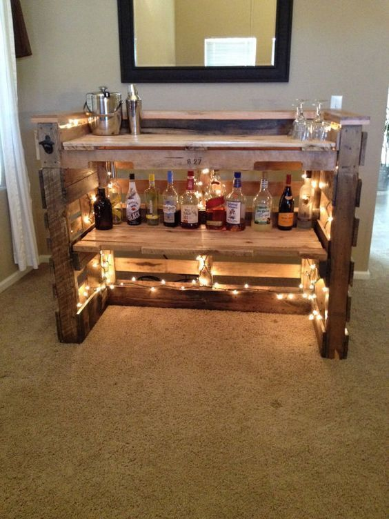 wood pallet bar with lights