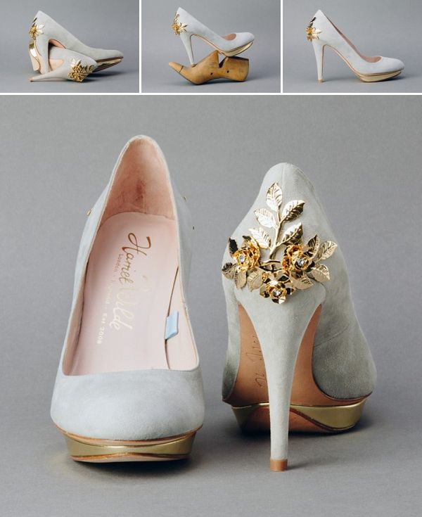 Gorgeous grey and gold shoes from 'Win a Pair of Beautiful Harriet Wilde Shoes Worth £399, With Arabesque **Competition open to all, not just brides to be**'.   Design by https://www.facebook.com/woomyshoes.arabesque, shoes generously donated by http://www.arabesquedirect.co.uk/