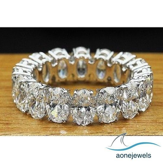 4.00CT OVAL CUT DIAMOND ETERNITY RING 14K WHITE GOLD PLATED ENGAGEMENT BAND RING #aonejewels #EngagementRing