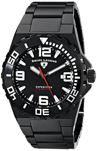 Men's Wrist Watches - Swiss Legend Mens 10008BB11 Expedition Analog Display Swiss Quartz Black Watch -- You can get more details by clicking on the image.
