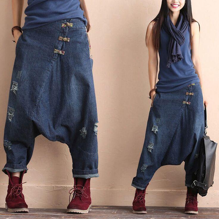 Women s Casual Drop Crotch Denim Casual Pants Cotton Linen Harem Trousers Floral