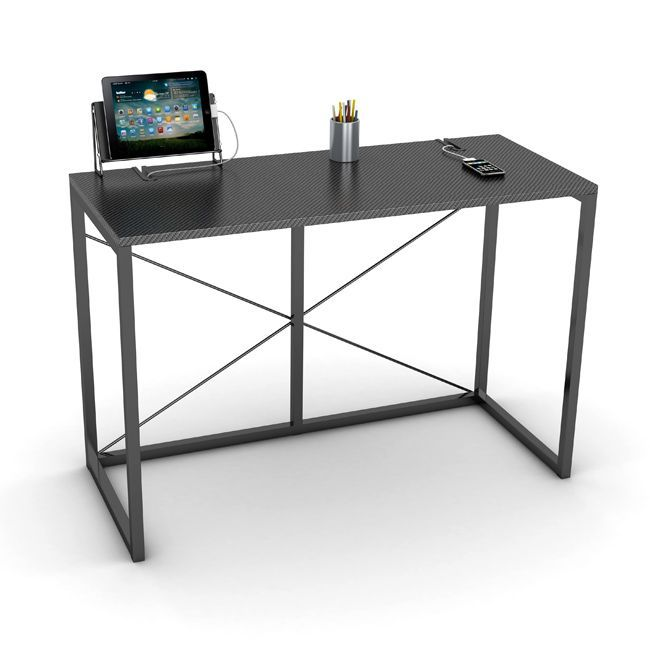 This black home computer desk by Atlantic is perfect for tech geeks. The bold metal frame is minimalistic, so your computer takes center stage. A charging station and cable management system add special functionality to this contemporary desk.