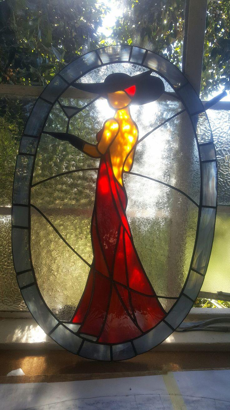 Lady in Red Leadglass