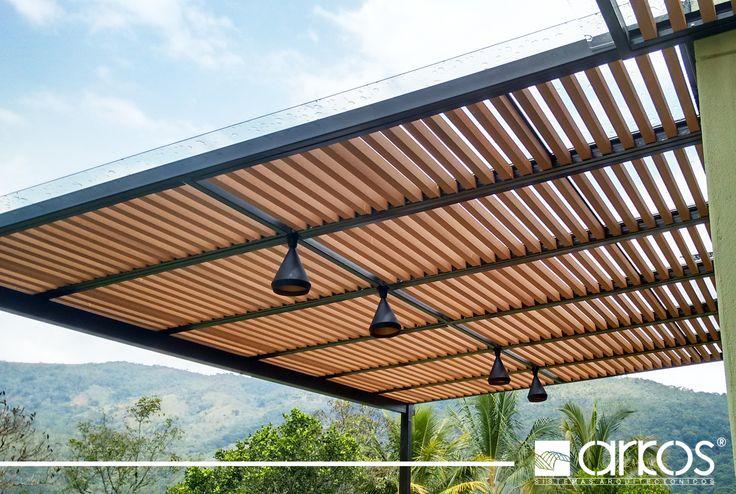 Estructura en ecowood tipo cortaos para cubierta en policarbonato macizo