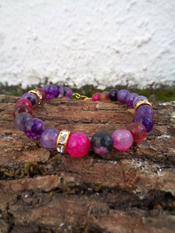 Purple dragon OOAK friendship bracelet / Bohemian bracelet / Summer bracelet/ jade beaded bracelet / semiprecious jewelry / Ethnic bracelet