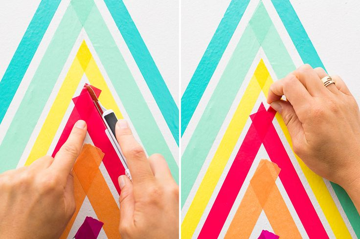 Choose a wall and measure the height and width. Decide where you want your design. We left room on the sides of our triangle as well as the top. Find t leave a light mark with your pencil. Do this on the bottom of the wall and where the top of your triangle will be.