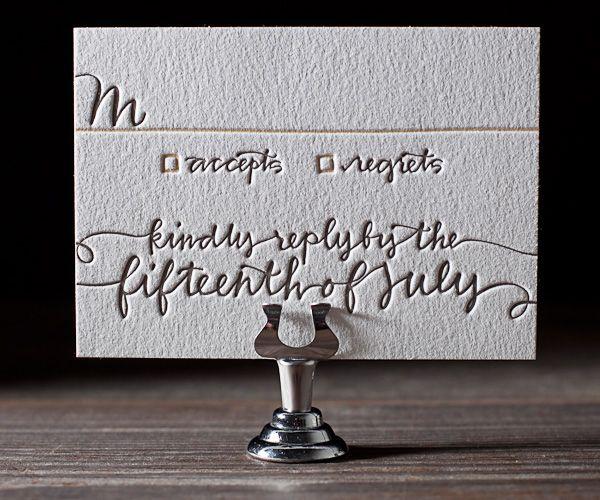 Whimsy Formal Letterpress Wedding Invitations | String Calligraphy Design | Bella Figura Letterpress