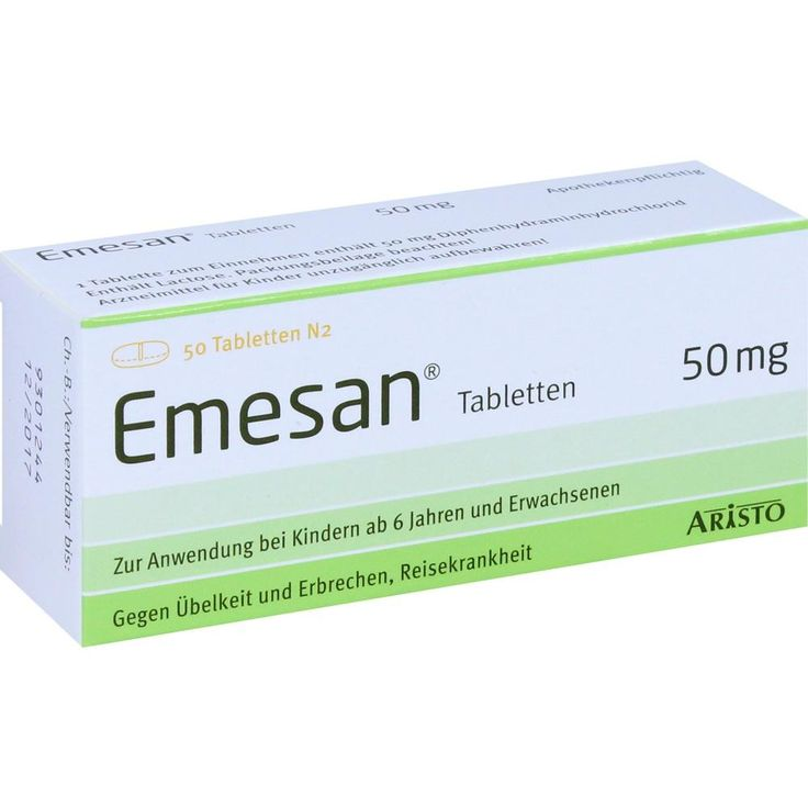 EMESAN Tabletten gegen Übelkeit und Erbrechen:   Packungsinhalt: 50 St Tabletten PZN: 02450983 Hersteller: Aristo Pharma GmbH Preis: 4,85…
