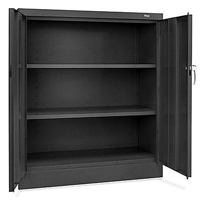 "Counter High Metal Storage Cabinet - 36 x 18 x 42"", Unassembled, Black H-1106BL - Uline"