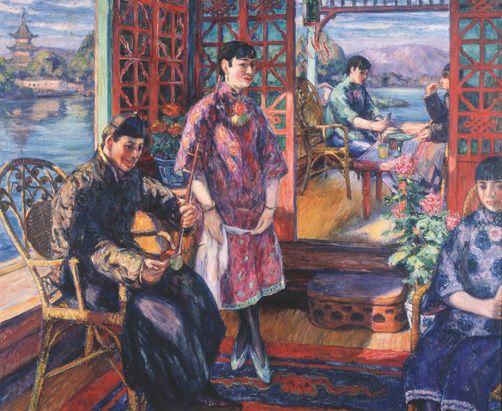 児島虎次郎《西湖の画舫》1921年 油彩・カンヴァス 高梁市成羽美術館蔵