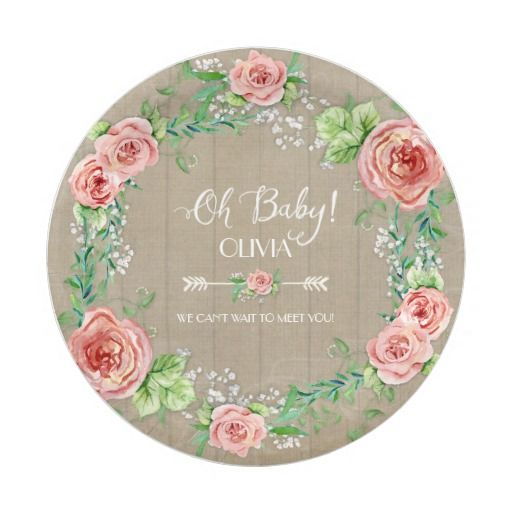 "PAPER PLATES BOHO Chic ""Oh Baby"" Pink Roses Wreath Rustic Chic Barn Wood Watercolor Plates For Food, Snacks, Desserts and more! So so pretty!!"