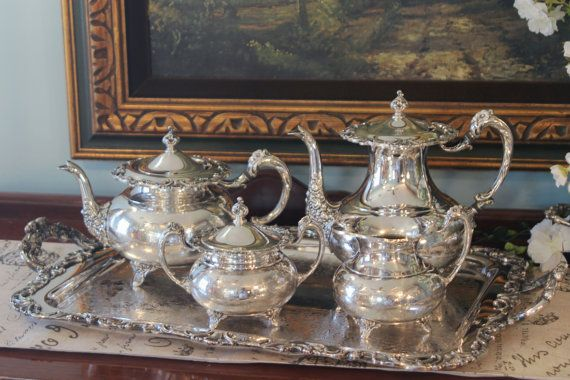 5 Piece Sheridan Silver Plate Tea Set - Complete Tea Service with Butlers Tray - Large Silver Tray with Handles | Tea Sets | Pinterest | Tea service ... : silver plated tea sets - pezcame.com