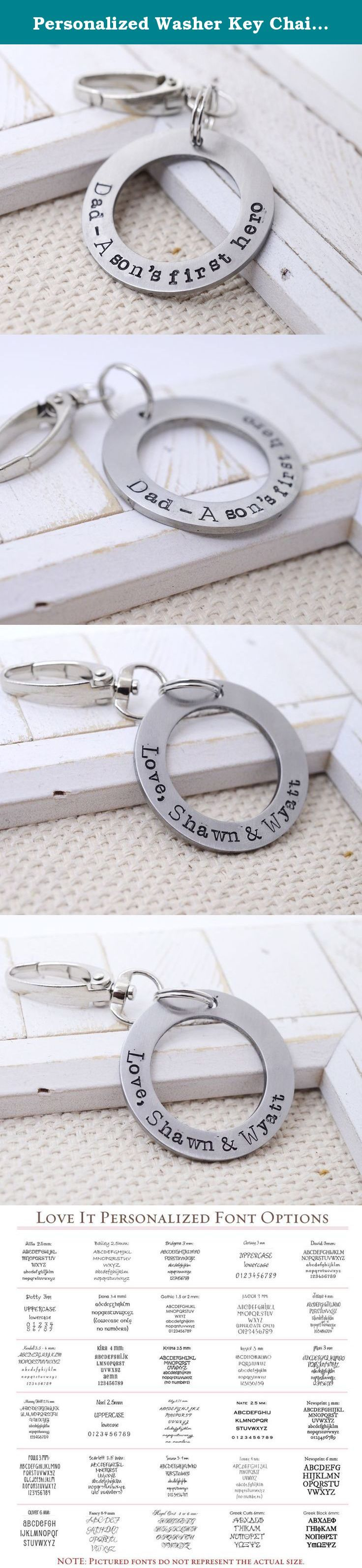 Personalized Washer Key Chain - Double Sided Custom Message - Gift for Dad - Father's Day Gift. A simple and beautiful round cut out key chain. This makes a great gift to fathers from their kids on Valentine's Day, Father's Day, anniversaries or a birthday. The disc is made from a thick aluminum disc that allows it to be stamped with personalized text on both sides. Key chain can be stamped with a short phrase or quote, names or dates or anything special you want to tell your loved one…