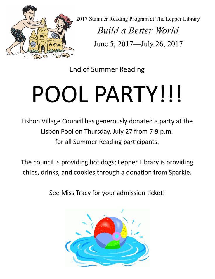 For registrants of the Summer Reading Program at  the Lepper Library.